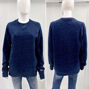 CHAMPION-Size M-Thick Marbled Navy Crew Neck